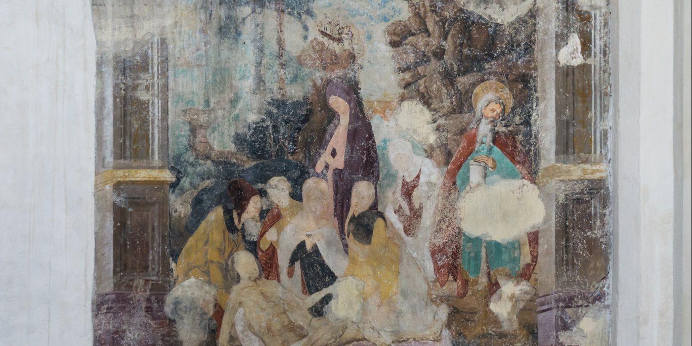 © Foto: Mag. Bernhard Wagner: Fresko mit beweintem Jesus nach der Kreuzabnahme (13. Station in einem Kreuzweg)
