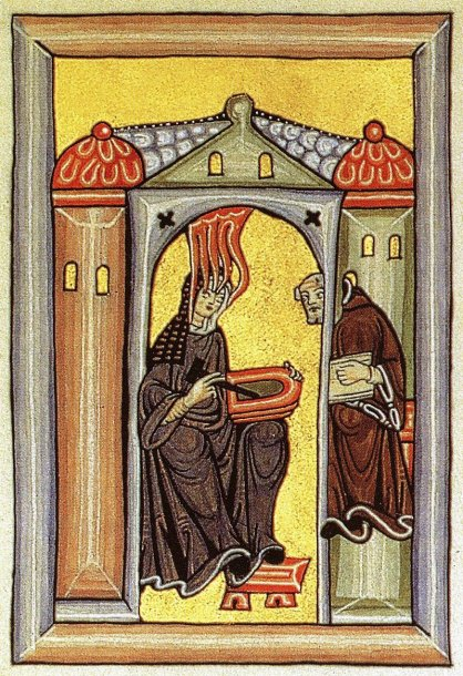 © Foto: Autor unbekannt - Miniatur aus dem Rupertsberger Codex des Liber Scivias., Gemeinfrei, https://commons.wikimedia.org/w/index.php?curid=1718595