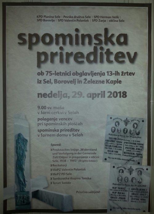 Spominska prireditev, 29. aprila 2018, v Selah. (© Foto: zp)