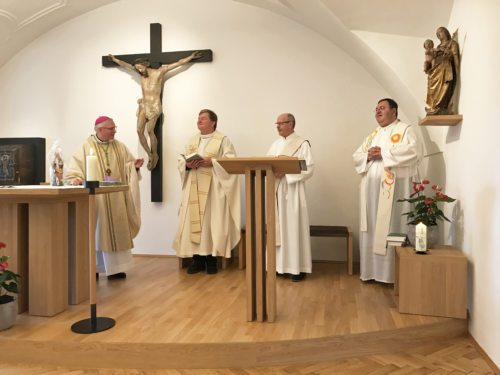 Bischof Dr. Freistetter, Stiftspfarrer Dr. Stromberger, Diakon Kehlich, Stiftspfarrer Geschäftsführer Mag. Kalidz Foto: Bistum Gurk / Schils