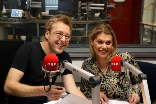 Max Müller und Magda Kropiunig bei der Aufnahme im ORF-Studio (Foto: Janesch)