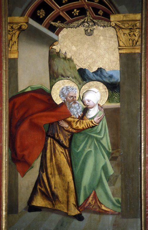 """Begegnung von Anna und Joachim, der Eltern Marias, an der Goldenen Pforte, """"Annenaltar"""" in der Pfarrkirche Bad St. Leonhard, um 1513; Foto: Prof. Heinz Ellersdorfer"""