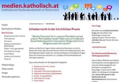 screenshot der neuen Seite zum Thema Urheberrecht in kirchlicher Praxis (© Foto: Medien.katholisch.at)