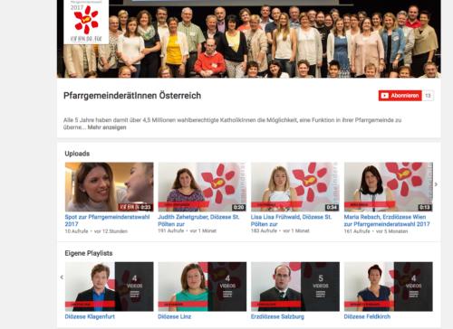Die Startseite des YouTube-Kanals zur PGR-Wahl (© Foto: PfarrgemeinderätInnen Österreich)