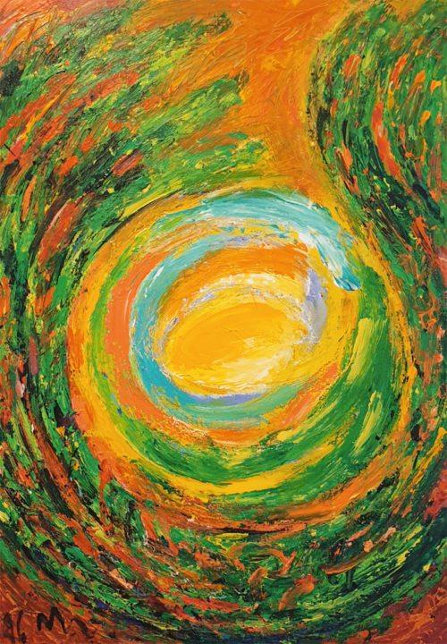 Dvanajstdelni cikel oljnih slik akademskega slikarja Mateja Metlikoviča (na sliki: »Goreči grm«), osrčje dvojezične razstave Sv. pisma leta 1996, je danes na ogled v tretjem nadstropju Škofijske hiše v Celovcu.