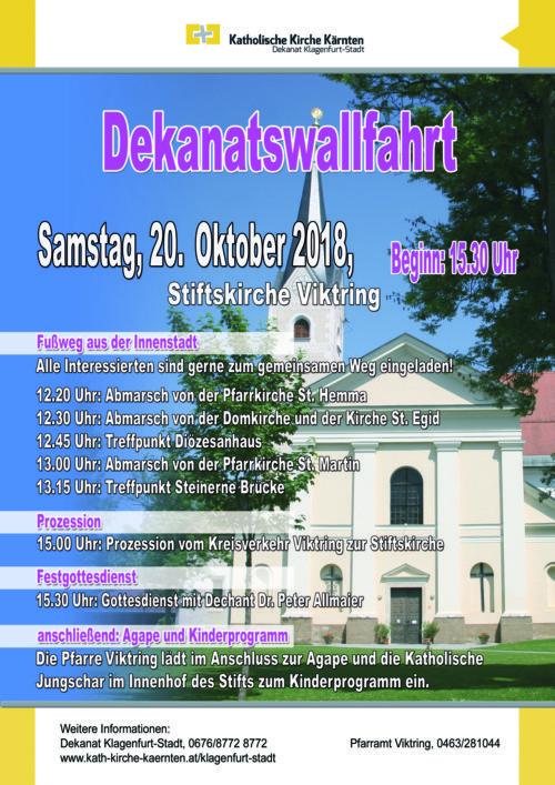 Einladung zur Dekanatswallfahrt (Dekanat Klagenfurt-Stadt)