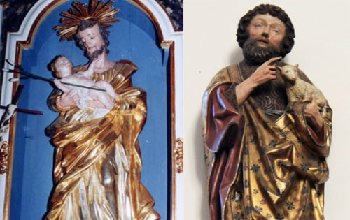 Statue des Hl. Josef aus der Pfarrkirche Haimburg, Statue des Hl.Johannes des Täufers aus der Deutschordenskirche Friesach (© Foto: Fotomontage: Internetredaktion)