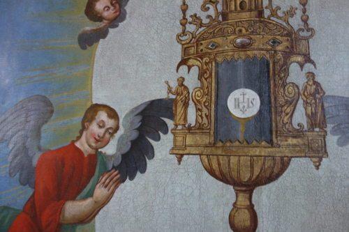 Gemälde im Seitenschiff / Taufbecken der Sternberger Pfarrkirche. (© Foto: Edith Strauss)