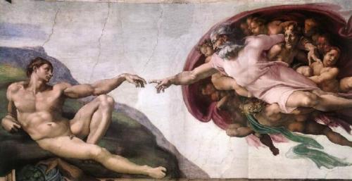 Michelangelo Buonarotti, Gott erschafft den Menschen; Detail Sixtinische Kapelle (© Foto: wikipedia)