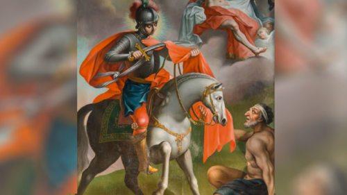 Der heilige Martin teilt seinen Mantel (Foto: Assam / Bearbeitung KHK)