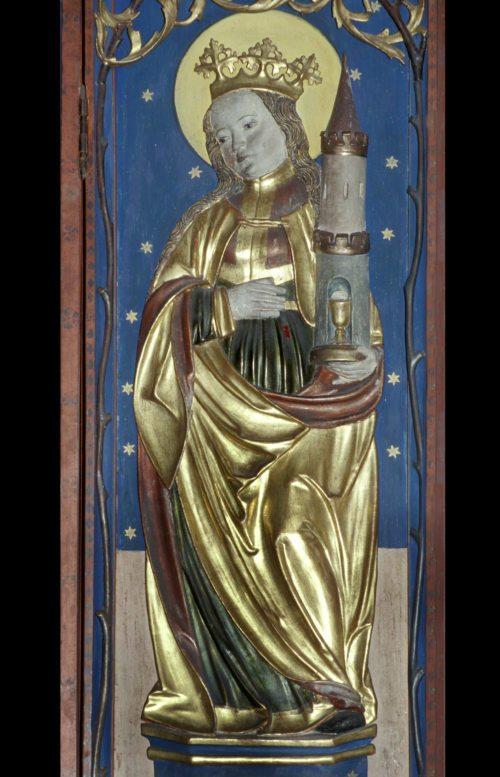 Hl. Barbara: Filialkirche hl. Cäcilia in der Pfarre Althofen, Flügelrelief, um 1517. Foto: Pressestelle/Ellersdorfer