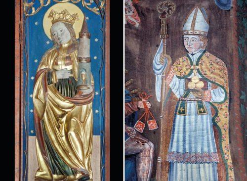 Darstellungen der Hl. Barbara (St. Veiter Schule um 1510) und des Hl. Nikolaus (um 1790) (© Foto: Prof. Heinz Ellersdorfer)
