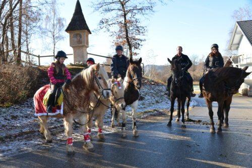 Große und kleine Pferde mit ihren Reitern warteten auf die Pferdesegnung in Ebenfeld (© Foto: Michael Habernigg)