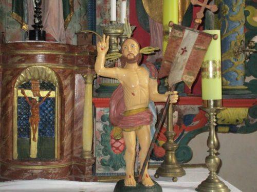 """""""Der auferstandene CHRISTUS"""". Statue in der Filialkirche Steben, wo am Ostermontag die hl. Messe stattfand.(Foto: Pfarrarchiv)."""