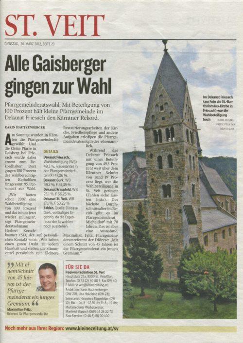 Auszug aus der Kleinen Zeitung vom 20.03.2012 (© Foto: Kleine Zeitung)