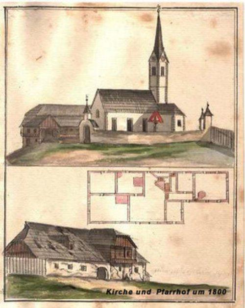 alte Pfarrkirche und Pfarrhof Fürnitz um 1800 (© Foto: Diözesanarchiv)