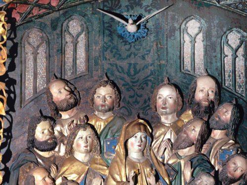 """PFINGSTEN - """"Komm, Heilger Geist, der Leben schafft, erfülle uns mit deiner Kraft."""" (Hrabanus Maurus) (© Foto: Ellersdorfer (Detail aus einem Altar der Pfarrkirche Lieseregg))"""