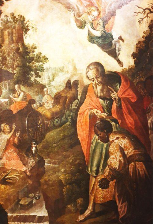 Die Begegnung von Philippus mit dem äthiopischen Beamten wird zu einer Lesereise, die mit der Taufe des Äthiopiers endet. (Darstellung von Christoph Krafft, 1650, St. Paul i. L. - Foto: G. Sitar)