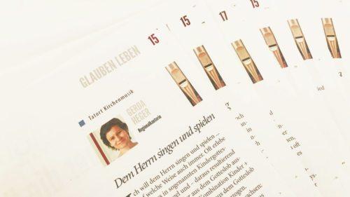 Kurze Artikel die sich mit Kirchenmusik befassen, werden Woche für Woche in der Kärnter Kirchenzeitung SONNTAG veröffentlicht. (Foto: KH Kronawetter)