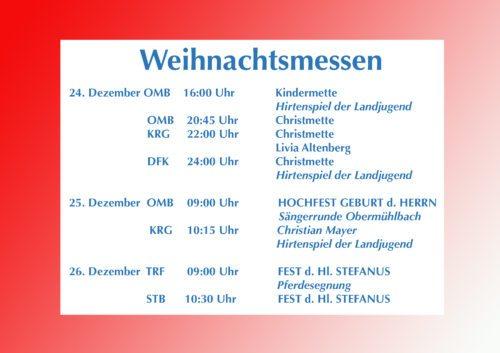 Weihnachtsmessen Pfarrverband Frauenstein Foto: Anton Wieser