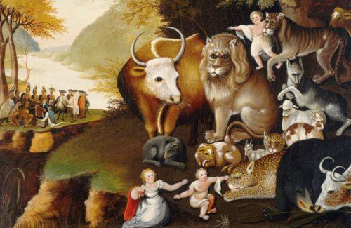 Jesajas Tierfrieden als endzeitliche Vision eines friedlichen Zusammenlebens aller Geschöpfe (im Bild: Tierfrieden nach Jes 11,6-8, Worcester Art Museum, Edward Hicks, um 1834) (© Foto: Prof. Heinz Ellersdorfer)