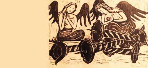 """""""Die Liturgie der Kirche riskiert den erschütternden Moment der Gottverlassenheit, den Augenblick des Gottestodes. Sie macht für ein paar Tage ihre eigene Gerätschaft zum Plunder, zur Altware"""", schreibt Ordinariatskanzler Jakob Ibounig in seinem geistlichem Impuls für die Karwoche. (© Foto: J. Ibounig (Holzschnitt von Werner Berg - Destructio/Karfreitag - 1956))"""