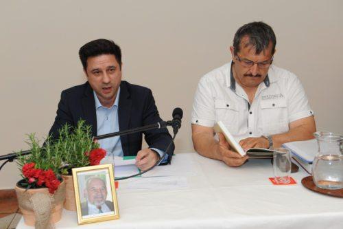 Boris Gallob in Marjan Linasi pri predstavitvi knjige (Gotthardt)
