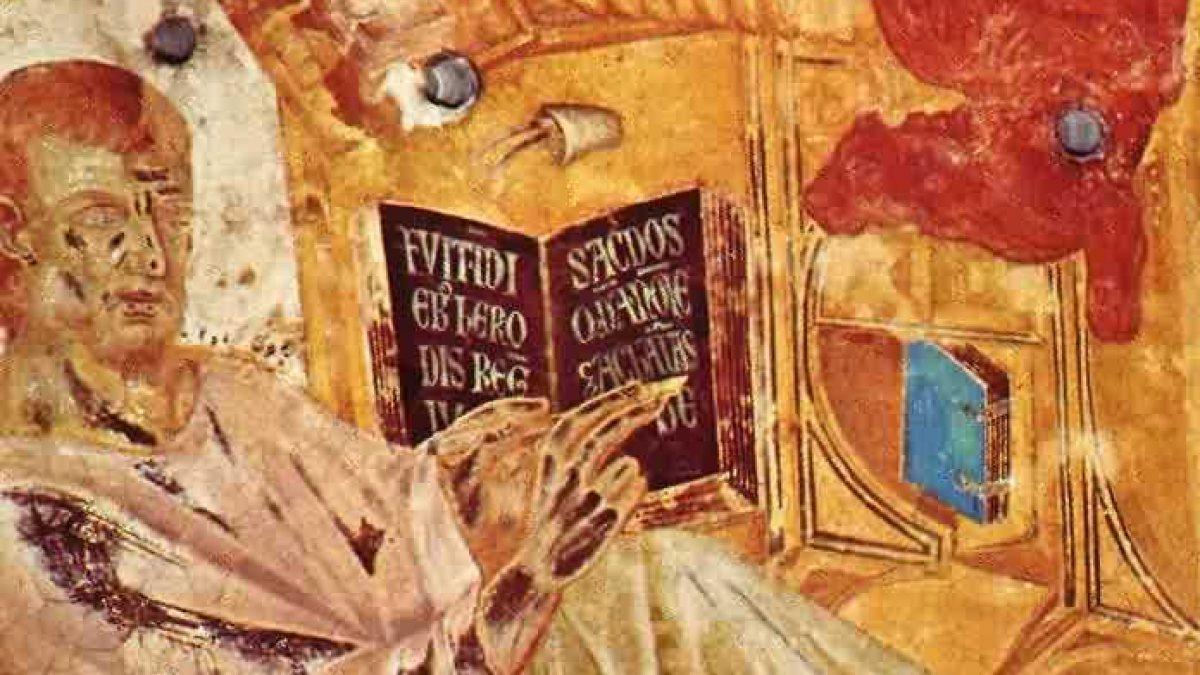 """Fresko in der Oberen Kirche der Basilika di San Francesco in Assisi (Joachim Schäfer - <a href=""""www.heiligenlexikon.de"""">Ökumenisches Heiligenlexikon</a>)"""