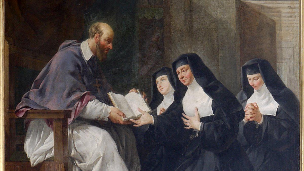 Franz von Sales übergibt den Schwestern der Heimsuchung Mariens die Ordensregeln. (Noël Hallé [Public domain, GFDL (http://www.gnu.org/copyleft/fdl.html) oder CC BY-SA 4.0 (https://creativecommons.org/licenses/by-sa/4.0)])