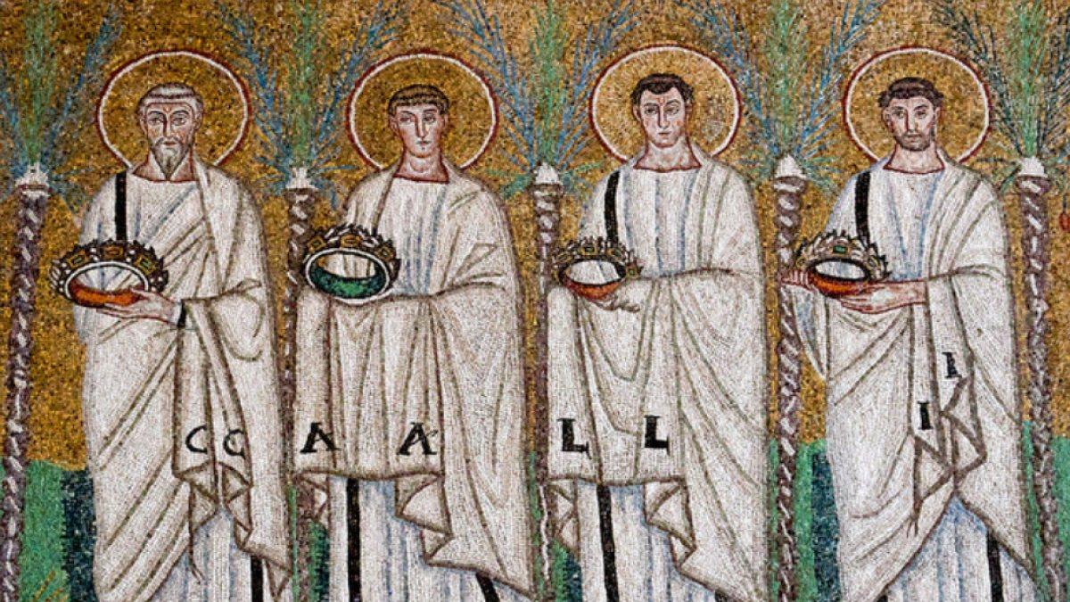 Polycarp, Vincent von Saragossa, Pancras von Rom und St. Chrysogonus, Mosaik in Sant'Apollinare Nuovo, Ravenna (at Sant'Apollinare Nuovo, Ravenna [Public domain])